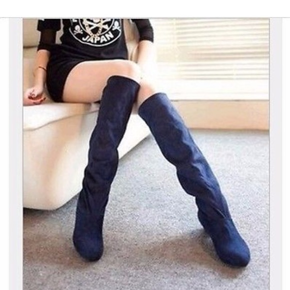 cb51ab921 NEW  79 SALE Knee High Navy Blue Suede-like boots